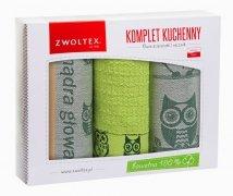 Komplet kuchenny dwóch ścierek 50x70 + ręcznik kuchenny 30x50 wz. sowa zielona akacja
