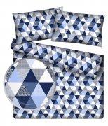 Poszewka 50x70 na zamek bawełna wz. Trójkąciki niebiesko-białe