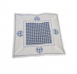 Walentynkowy Ozdobny obrus haftowany rozmiar 20x20 9247 HG Kolor: biało-niebieski