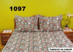 Pościel Walentynkowa kora 160x200 , 100% bawełna wz. K1097 zapinana na zamek