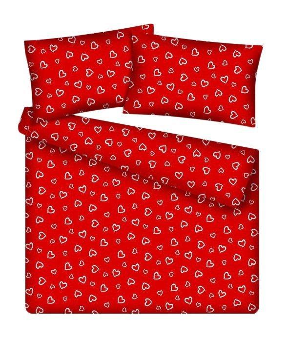Pościel młodzieżowa 100% bawełniana 160x200 wz. Walentynka czerwona