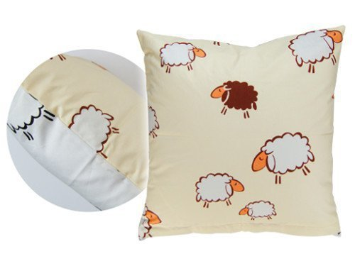 Poszewka na poduszkę BARANKI 50x60 - 100% bawełna, wz. kremowo-białe