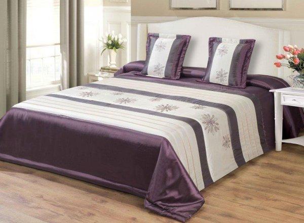 Narzuta dekoracyjna 170x210 + dwie poszewki 40x40 wz. 67668 purpurowa