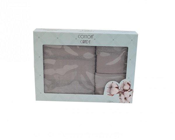 Trzyczęściowy komplet ręczników w pudełku 100% bawełna - popiel wz. DUMAN-3002 kolor szary