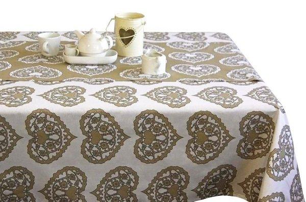 Obrus Romance Andropol rozmiar 160x180 wzór biel beż