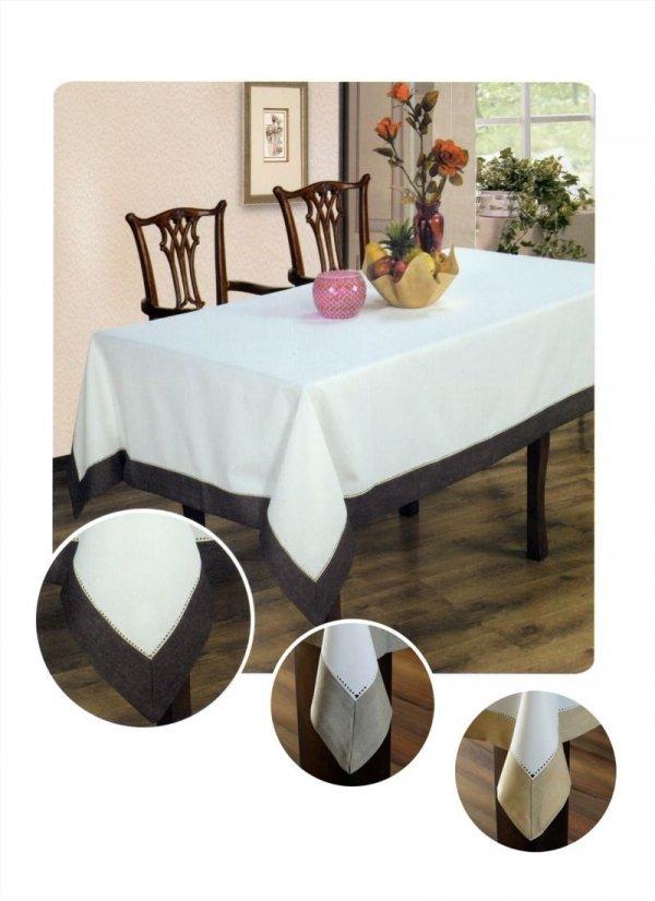 Obrus z mereżką rozmiar 150x300 wzór biało/czekoladowy (211)