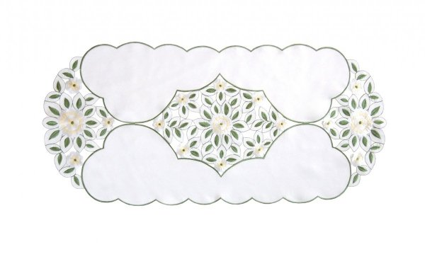 Wiosenny Obrus Haftowany GRACJA 40x90 ov kolor: biały