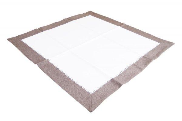 Obrus z mereżką rozmiar 85x85 wzór ecru/czekoladowy (211)