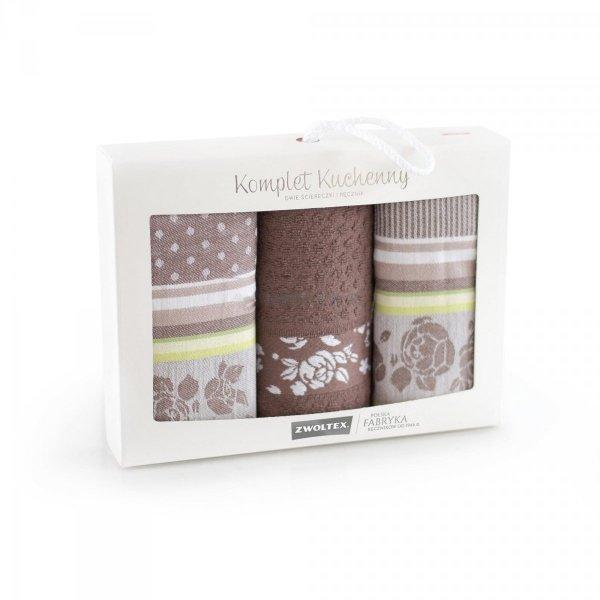 Komplet kuchenny dwóch ścierek 50x70 + ręcznik kuchenny 30x50 wz. ROZA brąz