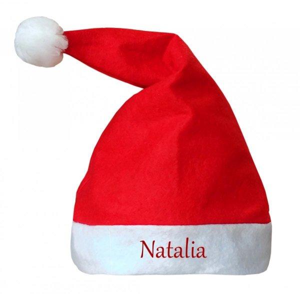 Czapka Mikołaja nadruk z Twoim imieniem, prezent na Święta