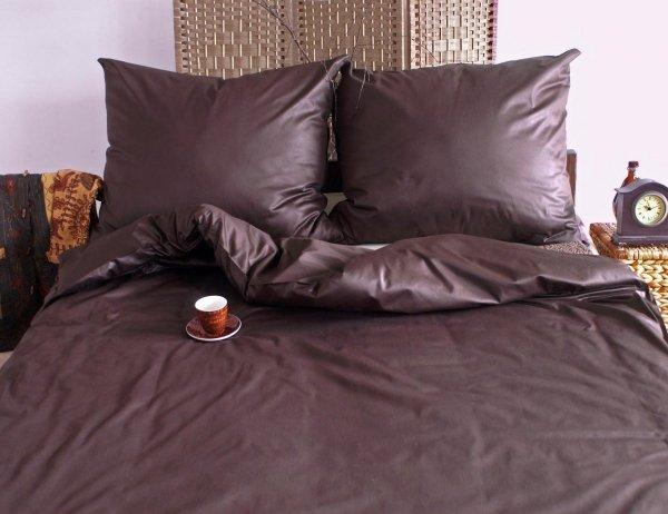 Pościel satynowa ANDROPOL 220x200, 200x200 lub 180x200 - wz. czekolada