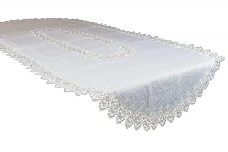 Obrus gipiurowy rozmiar 140x300 OV wzór biały (088)