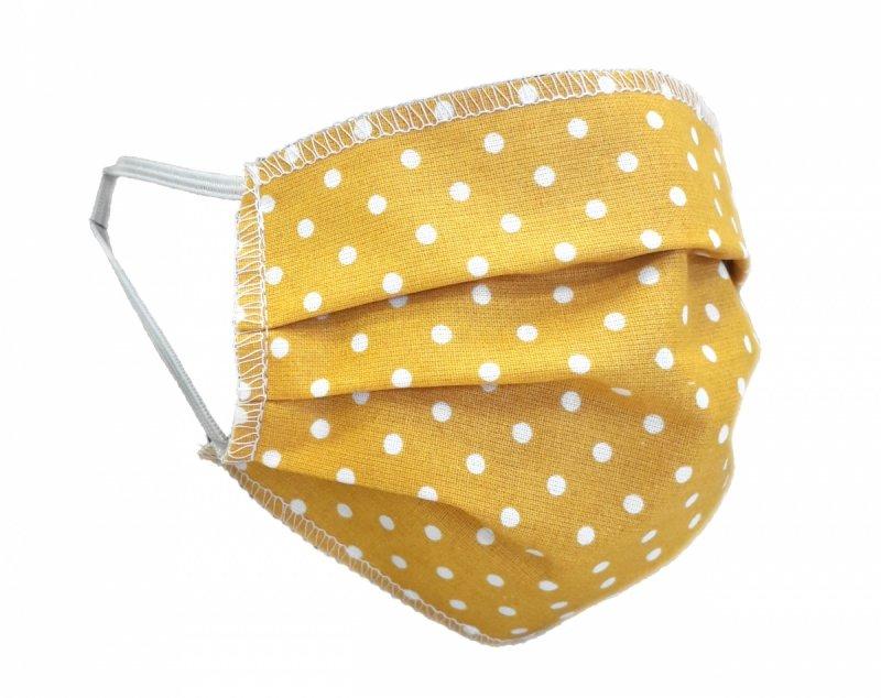 Maska ochronna 2-warstwowa 100% bawełny - wielorazowa 60°C wz. 5  KROPKI MUSZTARDOWE