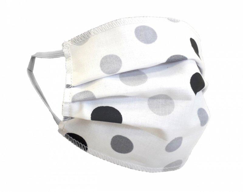 Maska ochronna 2-warstwowa 100% bawełny - wielorazowa 60°C wz. 10 GROCHY SZARE
