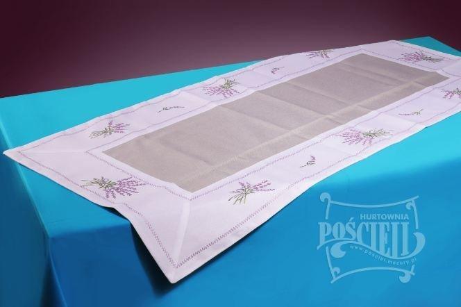 Ozdobny obrus haftowany rozmiar 35x45 cm Lawenda Kolor: biało-szary