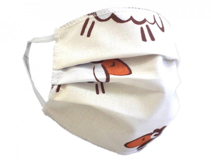 Maska ochronna 2-warstwowa 100% bawełny - wielorazowa 60°C wz. 12 BARANKI KREMOWE