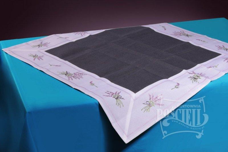 Ozdobny obrus rozmiar 60x60 Lawenda Kolor: biało-czarny