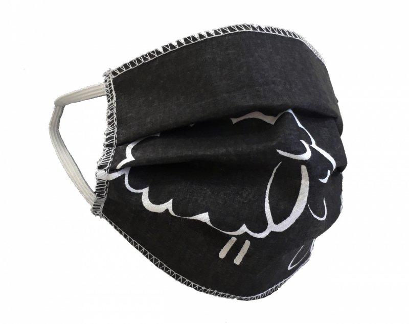 Maska ochronna 2-warstwowa 100% bawełny - wielorazowa 40°C wz. 13 BARANKI CZARNE