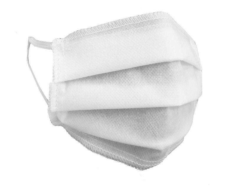 (kpl. 10 szt.) Maska ochronna 3-warstwowa z włókniny - wielorazowa 60°C BIAŁA