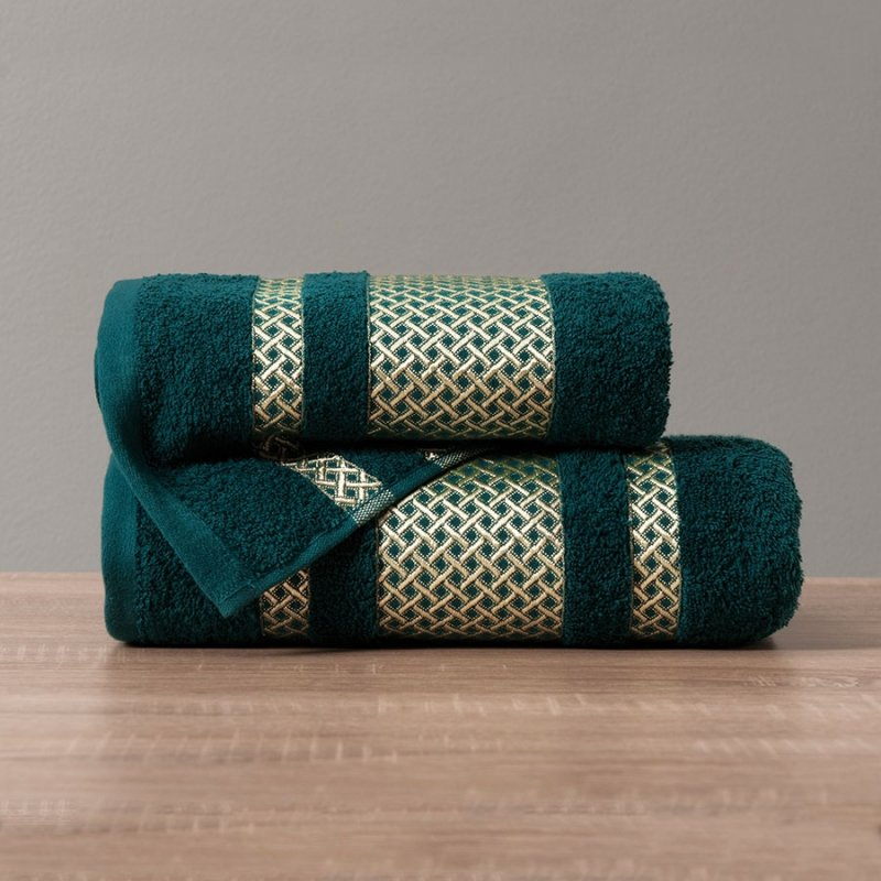 Ręcznik Lionel 70x140 kolor ciemno turkusowy; petrol ze złotą bordiurą