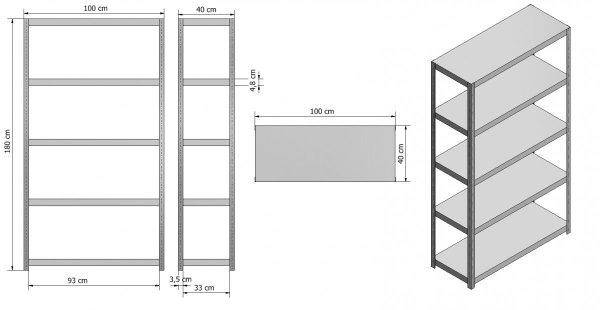 Metallregal ganz aus Metall Elara,  EW_180x100x40_5_150, 5 Böden 150 kg,  weiß