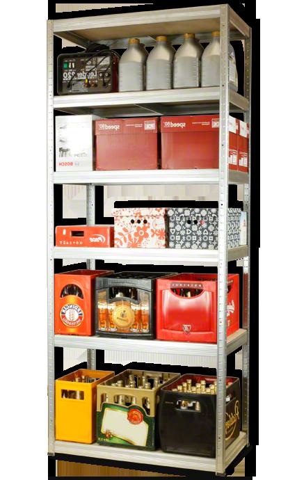 Metallregal Steck-Lager- Schwerlastregal bis 400 kg pro Boden , verzinkt , HZ_213x110x45, 6 Böden
