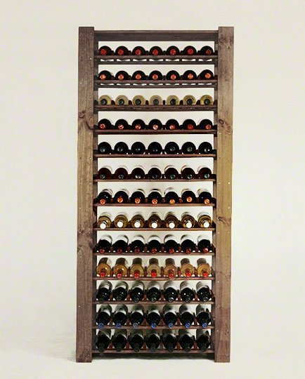 Weinregal für 91 Flaschen. Massiv Maxi-RW-5-3 (80x30x174), Unbehandelt, Erlen, Braun