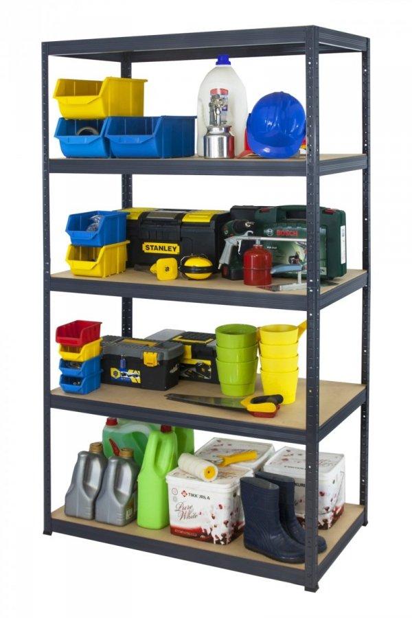 Metallregal Werkstatt Schwerlastregal Helios 180x110x60_5 Böden, Tragkraft bis 400 Kg pro Boden,  Viele Farben zur Auswahl