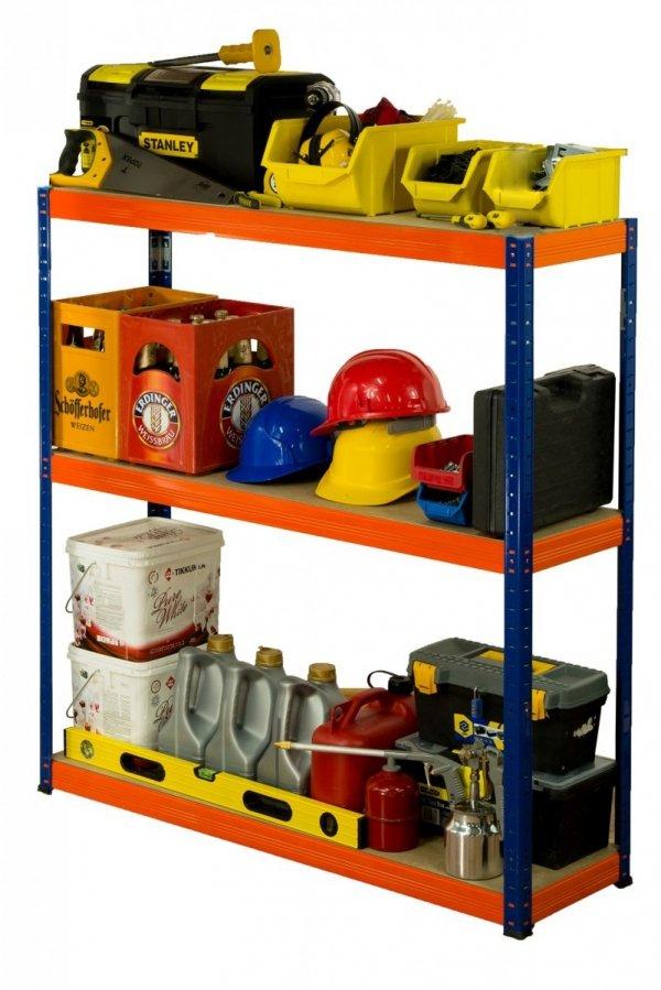 Metallregal Werkstatt Schwerlastregal Helios 090x090x35_3 Böden, Tragkraft bis 400 Kg pro Boden,  Viele Farben zur Auswahl