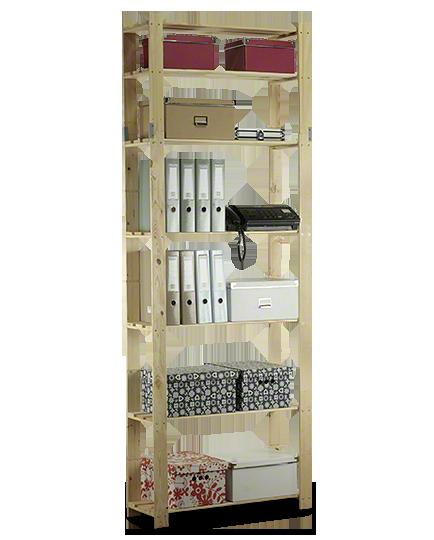 Holzregal 7 Böden 220x80x28 cm, B-28, Unbehandelt