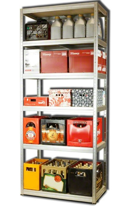 Metallregal Steck-Lager- Schwerlastregal bis 400 kg pro Boden , verzinkt , HZ_196x090x60, 6 Böden