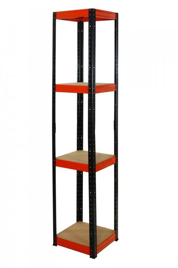 Metallregal Werkstatt Schwerlastregal Helios 180x035x35, 4 Böden, Tragkraft bis 175 Kg pro Boden,  Viele Farben zur Auswahl, Quadratisch