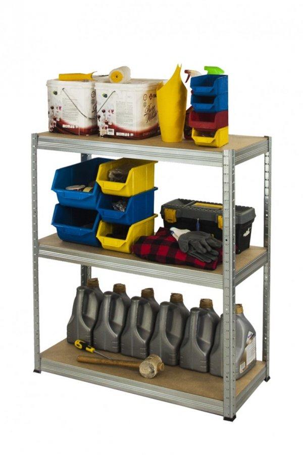 Metallregal Steck-Lager- Schwerlastregal bis 400 kg pro Boden , verzinkt , HZ_090x100x30, 3 Böden