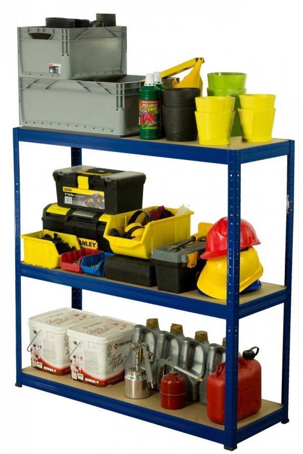 Metallregal Werkstatt Schwerlastregal Helios 106x110x45_3 Böden, Tragkraft bis 400 Kg pro Boden,  Viele Farben zur Auswahl