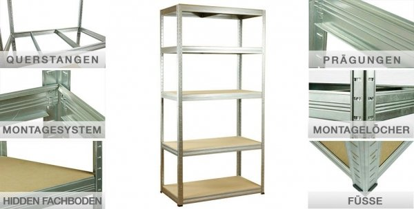 Metallregal Steck-Lager- Schwerlastregal bis 400kg pro Boden , verzinkt , HZ_213x110x30, 5 Böden