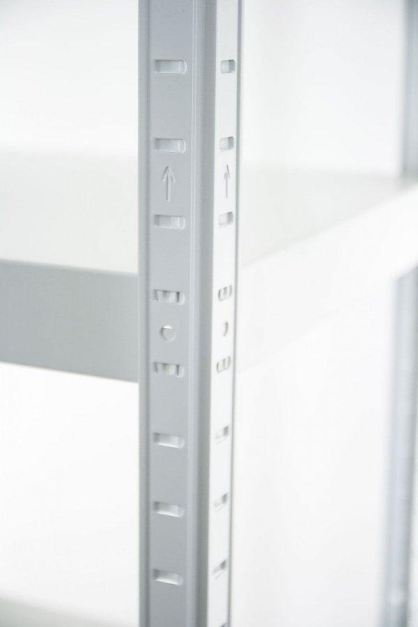 Metallregal ganz aus Metall Elara EW_180x080x40_5_120, 5 Böden 120 kg,  weiß