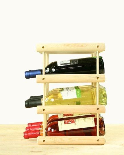 Modulregal Serie RW-7, Weinregal RW-7-1 für 12 Flaschen (36x24x36), Unbehandelt