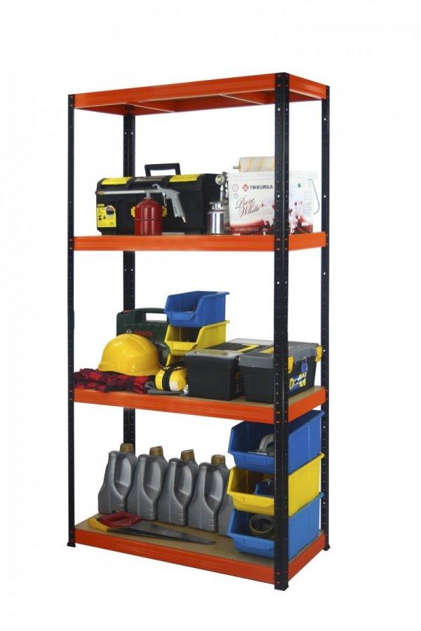 Metallregal Werkstatt Schwerlastregal Helios 180x090x30_4 Böden, Tragkraft bis 400 Kg pro Boden,  Viele Farben zur Auswahl