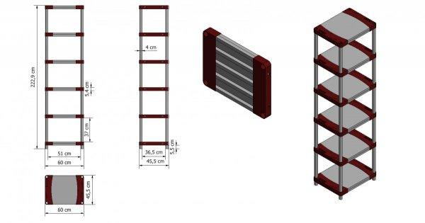 Plastikregal Kunststoffregal Steckregal  Tytan-6-60 (222x60x46), 6 Böden, 3 Farben