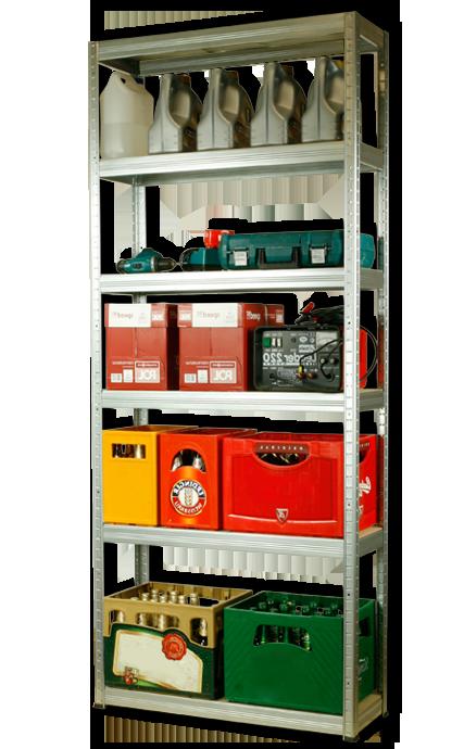 Metallregal Steck-Lager- Schwerlastregal bis 400 kg pro Boden , verzinkt , HZ_213x110x30, 6 Böden