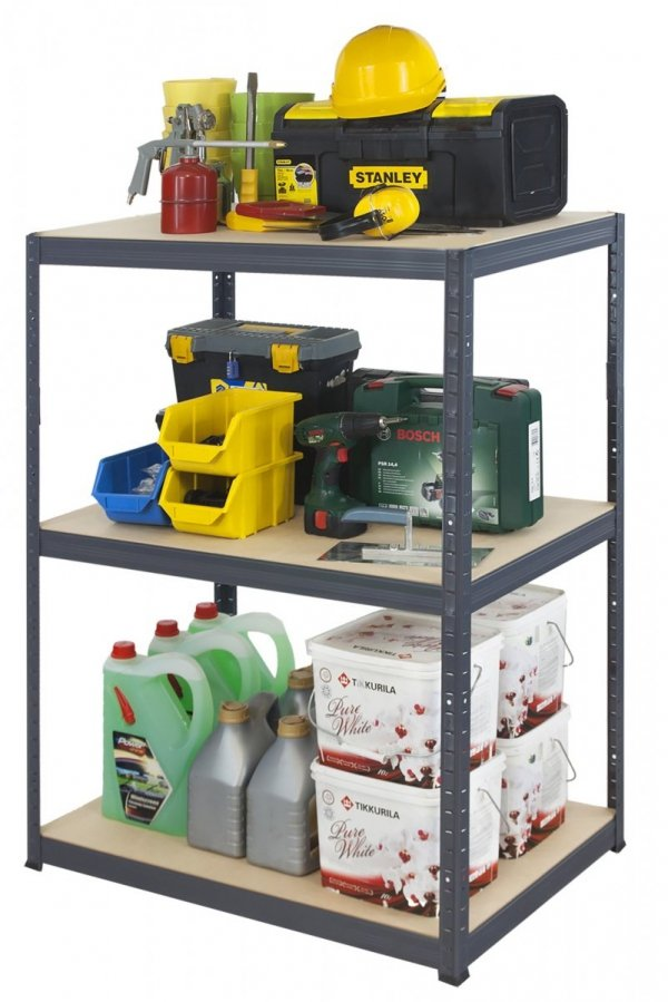Metallregal Werkstatt Schwerlastregal Helios 106x030x30_3 Böden, Tragkraft bis 175 Kg pro Boden,  Viele Farben zur Auswahl, Quadratisch