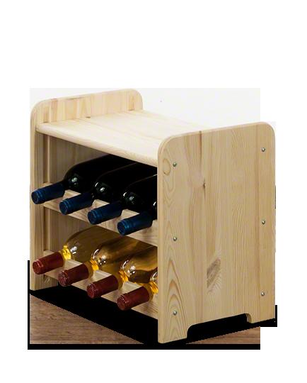 Weinregal für 8 Flaschen RW-3-08P (43x38x36,5), Unbehandelt, Erlen, Braun
