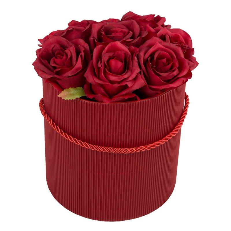 Flower Box Okrągły Prążkowany Czerwony 17,5cm