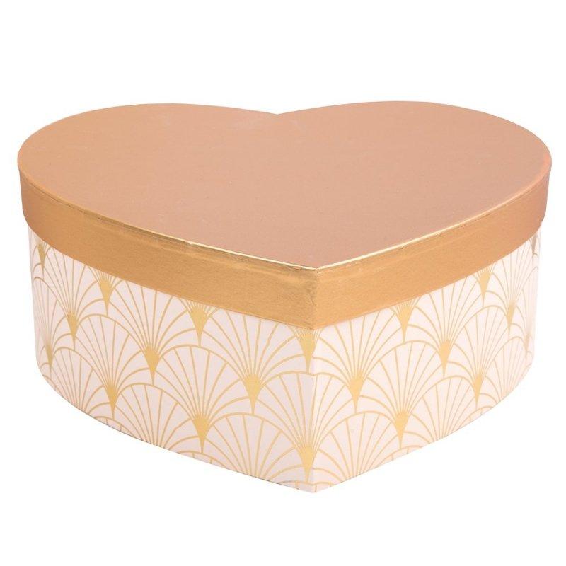 Flowerbox Serce Róż/Złoto Średni