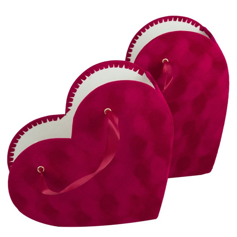 Pudełko Ozdobne Osłonka Czerwone Serce Welur 27cm