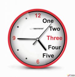 Zegar ścienny PRAGUE czerwony EHC014R ESPERANZA