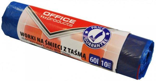 Worki na śmieci z taśmą OFFICE PRODUCTS, premium (LDHD), 60L, 10szt., niebieskie