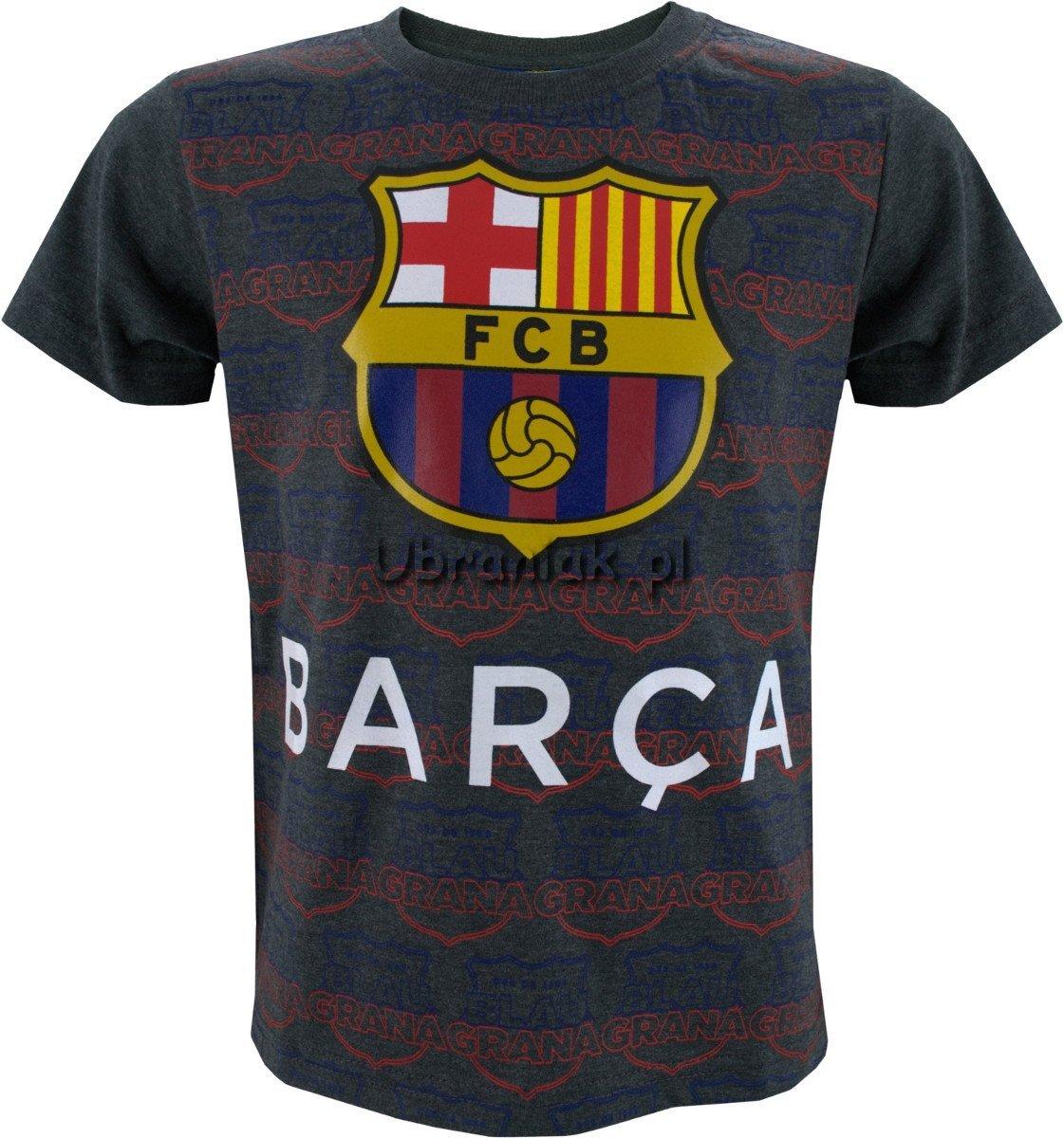 ff6f02988 T-shirt FC Barcelona Barca szary rozmiary 128-158 ubrania dla dzieci