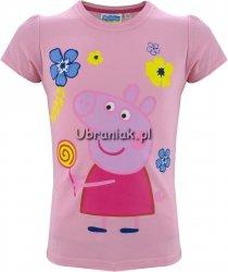 T-shirt Świnka Peppa z lizakiem róż