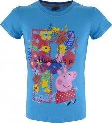 T-shirt Świnka Peppa kwiaty niebieska